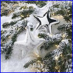 Glass Star Christmas Ornaments Set of Eight Shiny Silver Holiday Decoration Tree