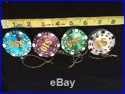 Glass Vegas Chips Ornaments lot of 4