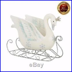 Glitter White Swan Sleigh Standing CHRISTMAS DECORATION 32.1cm Mantelpiece
