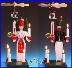 Glocken-Engel und Bergmann 40 cm Erzgebirge Schalling Glockenbergmann + Kerzen