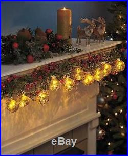 Gold Mercury Glass String Lights Vintage Style Christmas Holiday Home Decor