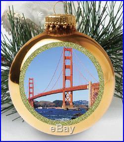 Golden Gate Bridge San Francisco Glass Christmas Ornament 20061 Made in USA New