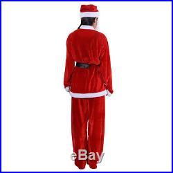 Goplus Adult Men Women Suit Set Christmas Santa Claus Costume hat belt clothes