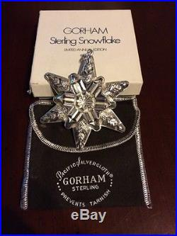 Gorham 1970 Sterling Silver Christmas Ornament Snowflake Original Box & Cloth