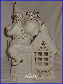 Grandeur Noel 2003 White Porcelain With Gold Firing Santa Set Original Box AS IS