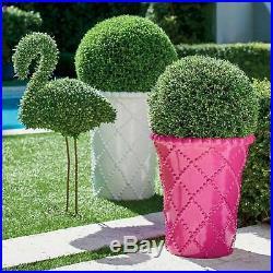 Grandin Road Ballard Designs Faux Boxwood Garden Flamingo Topiary Statue NIB