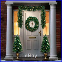 Green Christmas LED Wreath Garland Tree Pack Door Hanging Decoration Outdoor