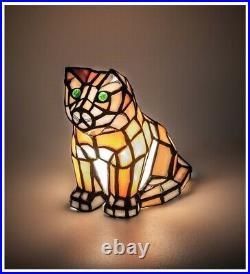 Green Eyed Orange Cat Stain Glass Accent Lamp 7 Halloween Decor