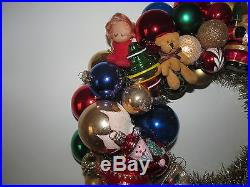 Green Red Gold Vintage Christmas Ornament Wreath Handmade 16 OOAK Shiny Brite