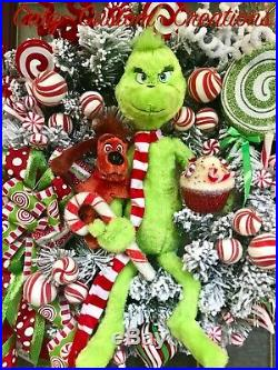 Grinch Flocked Wreath Xmas Decor Candy Cane Cupcake Peppermint Picks Arrangement