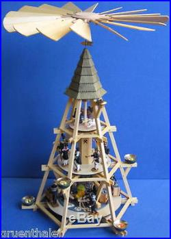 Große Göpelpyramide 72cm 3-Stock Werner Walter Pyramide Göpel Erzgebirge NEU