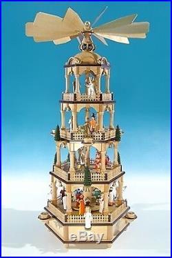 Große Weihnachtspyramide in Naturholz mit farbigen Figuren Höhe ca 70 cm NEU Tis