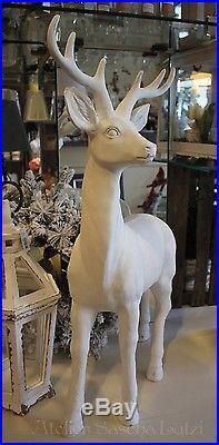 Großer Hirsch Rentier Geweih Figur Weiß 82cm Dekoration Winter Weihnachten