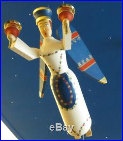 Großer Schwebe-Engel blau Schwebeengel Holz Schutzengel Erzgebirge Taufengel