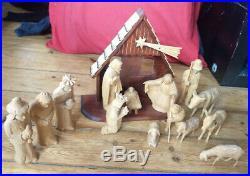 Großes Krippenspiel Holz, Krippe, Weihnachten, handgeschnitzt, Weihnachtskrippe