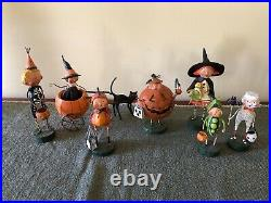 Group of Lori Mitchell Halloween Figures Cat Pumpkin Mummy Skeleton Witch