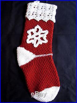 HANDMADE Knit CROCHET White SNOWFLAKE Christmas STOCKING Red HOLIDAY Decoration