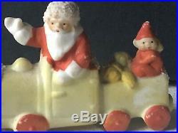 HERTWIG GERMANY Vintage Figurine TRAIN SANTA Christmas Antique RARE CERAMIC