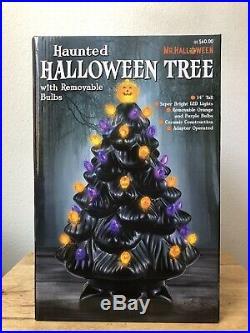 HTF Haunted HALLOWEEN LED LIGHT BLACK CERAMIC TREE 14 FREE EXPEDITED SHIP! RARE