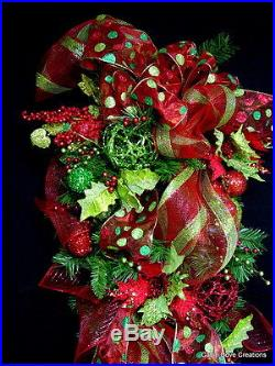 HUGE 5′ Christmas Teardrop Swag decorated red lime OVER the Top Wreath Garland