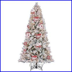 Hallmark 7.5′ Artificial Northern Estate White Flocked Christmas Tree with Lights