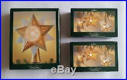 Hallmark Illuminations Starlight Starbright & Tree Topper Ornament set of 3