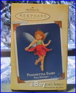 Hallmark Ornament FAIRY MESSENGERS 2005 Red Poinsettia Fairy Glittery Wings #1