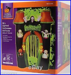 Halloween 10 ft High Lighted Welcome Reaper Gate Archway Airblown Inflatable NIB