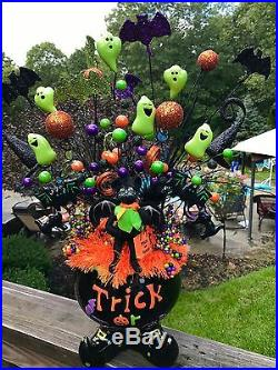 Halloween Centerpiece Not Wreath Annalee Doll Cauldron Feather Floral Decor Raz