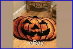 Halloween Fall Jack-O-Lantern Pumpkin Shag Area Rug 3′ x 2.2′ NWT Pier 1