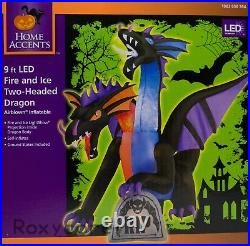 Halloween Gemmy 9 ft Animated Projection Fire & Ice 2 Headed Dragon Inflatable