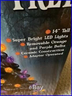 Halloween Lighted Black Ceramic Tree AC Adaptor New In Box 14 Tall Mr Christmas