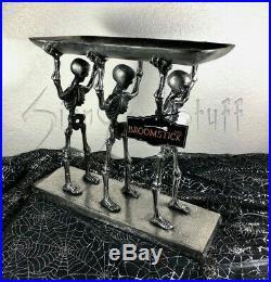 Halloween Metal Skeletons Holding Tray Serving Stand Walking Dead Pallbearers