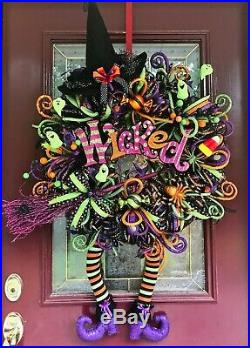 Halloween Wreath Arrangement Raz Witch Legs Hat Candy Corn Ghost Bow Deco Mesh