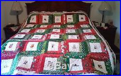 Handmade Christmas Quilt with Machine Embroidery