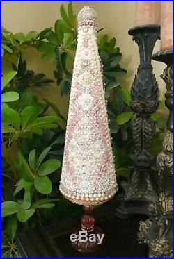 Handmade Jeweled Rhinestones Pearls Shabby Chic Christmas Tree Centerpiece Decor