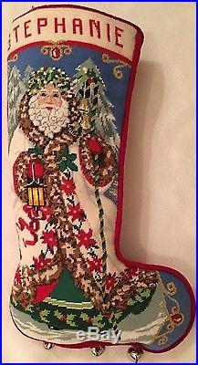 Handmade Needlepoint Christmas Stocking Stephanie