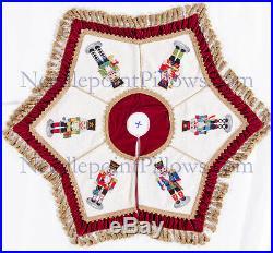 Handmade Red Velvet Steinbach Nutcracker Needlepoint Christmas Tree Skirt. 52
