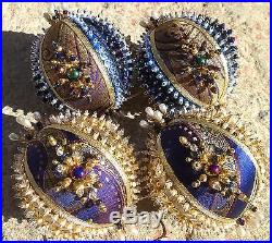 Handmade Sequins Beaded 4 Pc Set Victorian Style Christmas Ornaments Balls