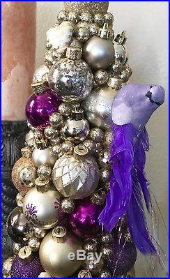 Handmade Unique 21 Christmas Tree Centerpiece Purple Bird Holiday Decor