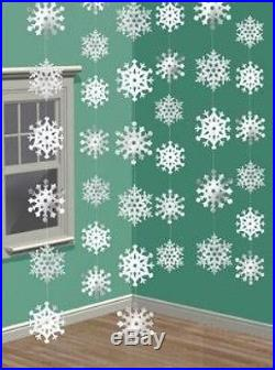 Hanging Strings Of Snowflakes Christmas Party Decorations X 6 New