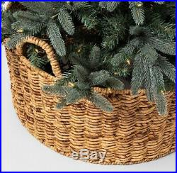 Hearth & Hand Magnolia Tree Collar Woven Wooden Tan Basket Handles Wicker Skirt