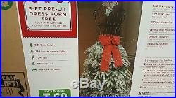 Holiday Christmas 5′ Flocked Dress Form Mannequin Artificial Tree Clear Lights