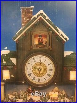 Holiday Cuckoo Clock Christmas Coo-Coo Animated Village Scene Santa Sleigh