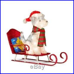 Holiday Husky Dog on Sled Lighted Outdoor Christmas Yard Decoration Display