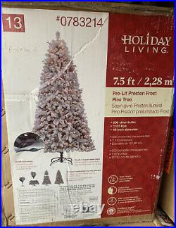 Holiday Living 7.5′ Pre-lit Preston Frost Flocked Pine Tree White Christmas