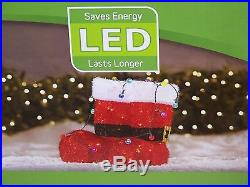 Holiday Living Santa Boots LED Light Up Christmas Outdoor Tinsel Decoration New