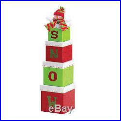 Holiday SNOWMAN Tiered GIFT BOXES Merry CHRISTMAS decor Holidays (/6) NEW