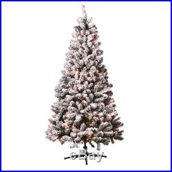 Holiday Time 6.5ft Flocked Pre-Lit Crystal Pine Artificial Christmas Tree with 2