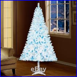 Holiday Time 6.5ft Pre-Lit Madison Pine Christmas Tree White With Blue Lights NEW
